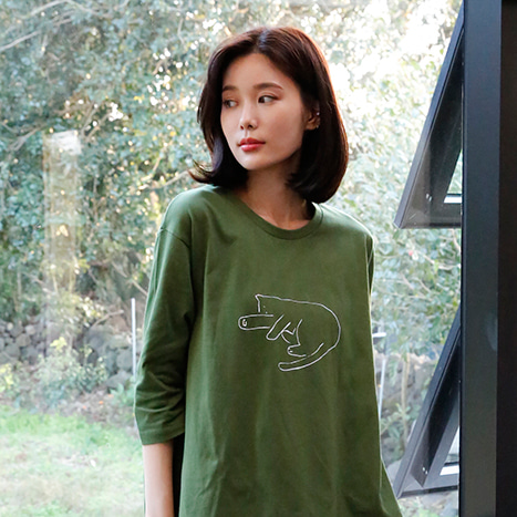 Deep dleep cat (olive green) - sleepwear